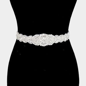 Crystal Pave Sash Ribbon Bridal Wedding Belt